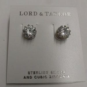 Lord & Taylor round cubic zirconia earrings